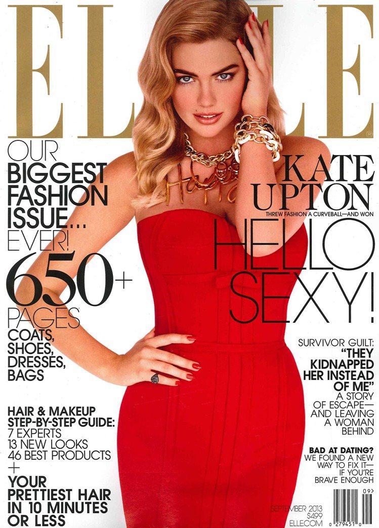 名模凱特阿普頓穿LANVIN新裝,登上ELLE雜誌9月號。圖/達志影像