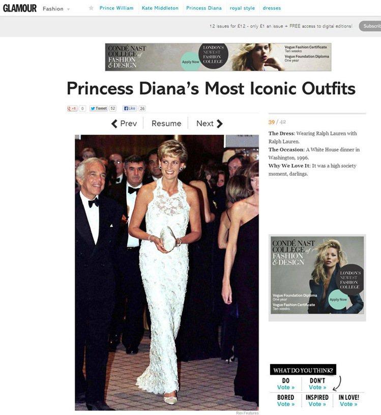 黛安娜王妃身穿白色蕾絲禮服。圖/擷取自Glamour magazine