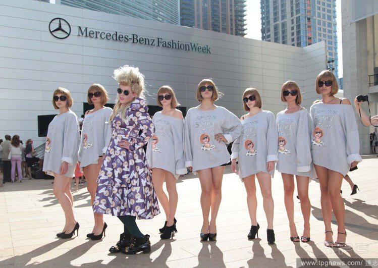 紐約時裝周冒出一堆「安娜溫圖」分身,個個帶著安娜的招牌墨鏡,頂著棕色蘑菇頭短髮,...