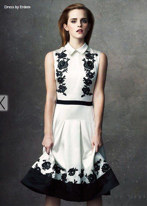 艾瑪華森穿上Erdem的環保禮服。圖/擷取自 Net-a-Porter