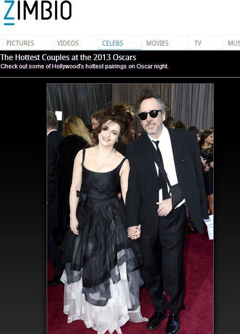海倫娜穿著最愛的暗黑歌德風服裝與老公堤姆波頓參加2013奧斯卡頒獎典禮。圖/擷取...