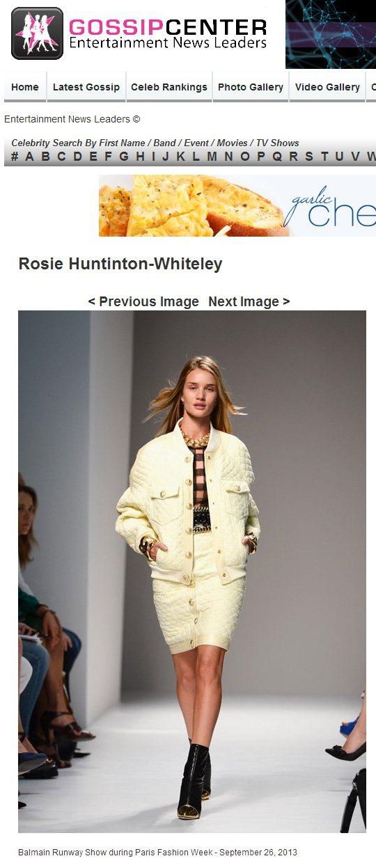 超模蘿西杭亭頓巴黎時裝周上為2014 Balmain 春夏系列走秀。圖/擷取自G...