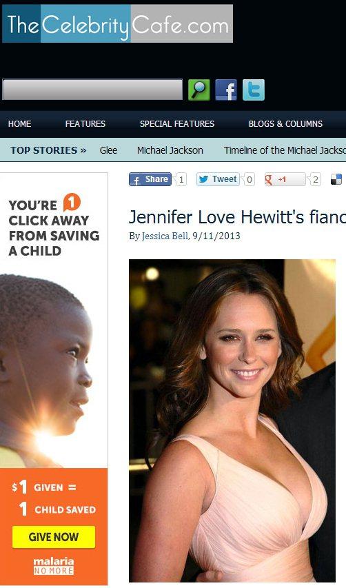 珍妮佛樂芙休伊(Jennifer Love Hewitt)的胸部上榜「好萊塢最辣...