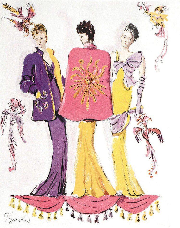 薛帕瑞麗(Schiaparelli)在1938年的設計手稿。圖/Schiapar...