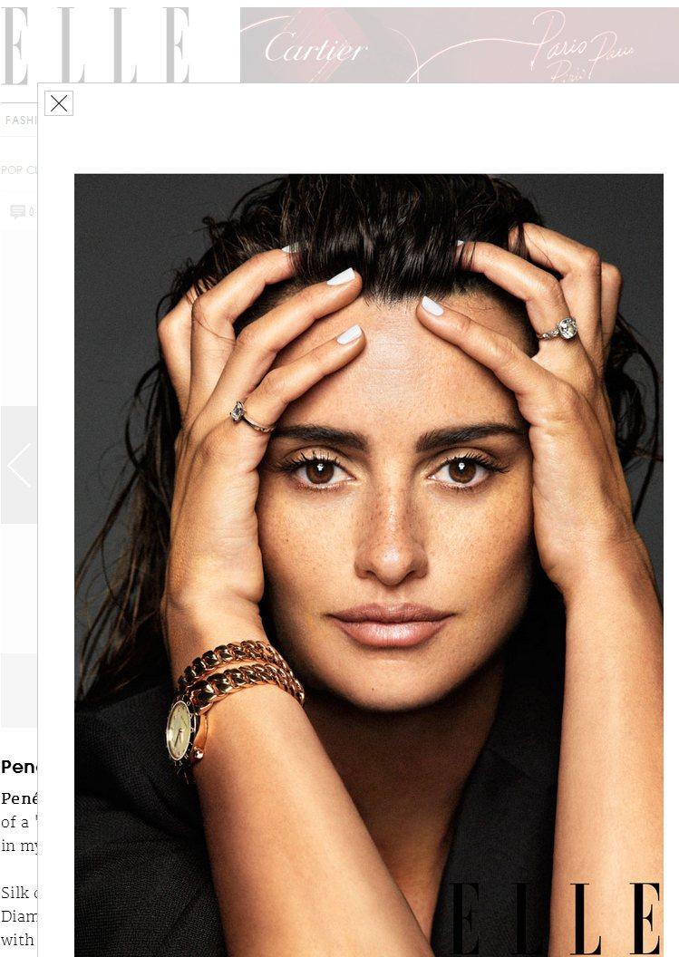 潘妮洛普克魯茲,為11月ELLE雜誌拍攝封面,展現十足的性感媽媽味。圖/擷取自E...
