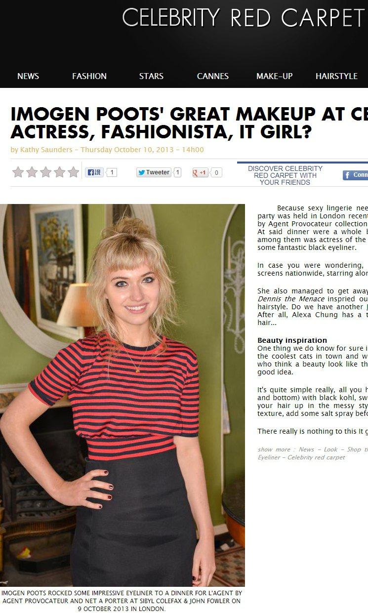 英國女演員Imogen Poots以及條紋衣配黑長裙,走「清新小女人」路線。圖/...