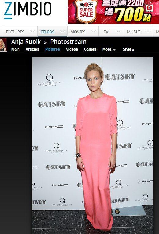 Anja Rubik一身粉嫩的禮服,盡顯青春亮麗的魅力。圖/擷取自zimbio....
