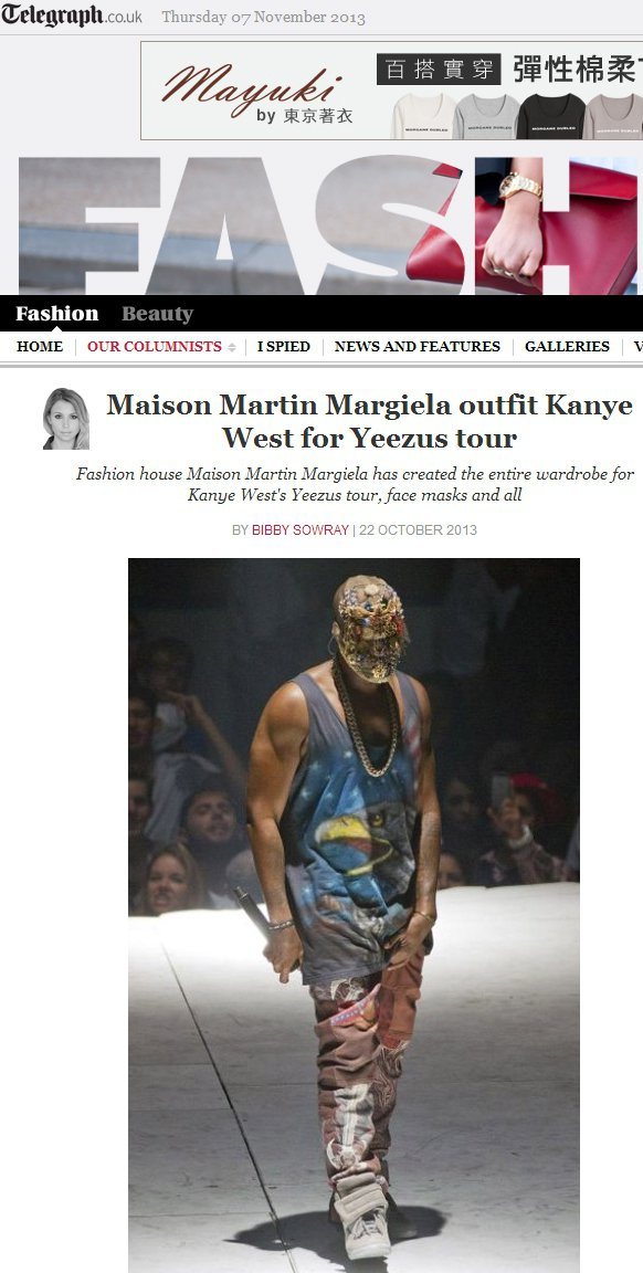 美國歌手Kanye West近期也與Maison Martin Margiela...