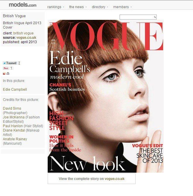 Edie Campbell曾在英國版 VOGUE 雜誌2013的4月封面上重現 ...