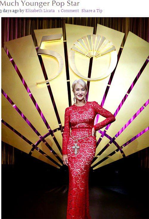 海倫米蘭以一身紅色蕾絲 Dolce & Gabanna 禮服驚豔四座,她將品牌十...