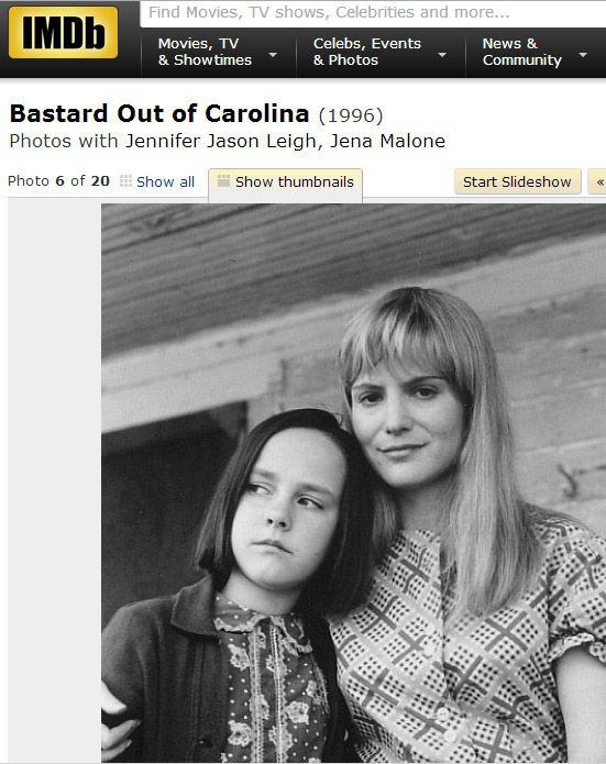 吉娜馬隆(左)早在1996年時,12歲的她就曾憑著《來自卡羅萊納的私生女》一片拿...