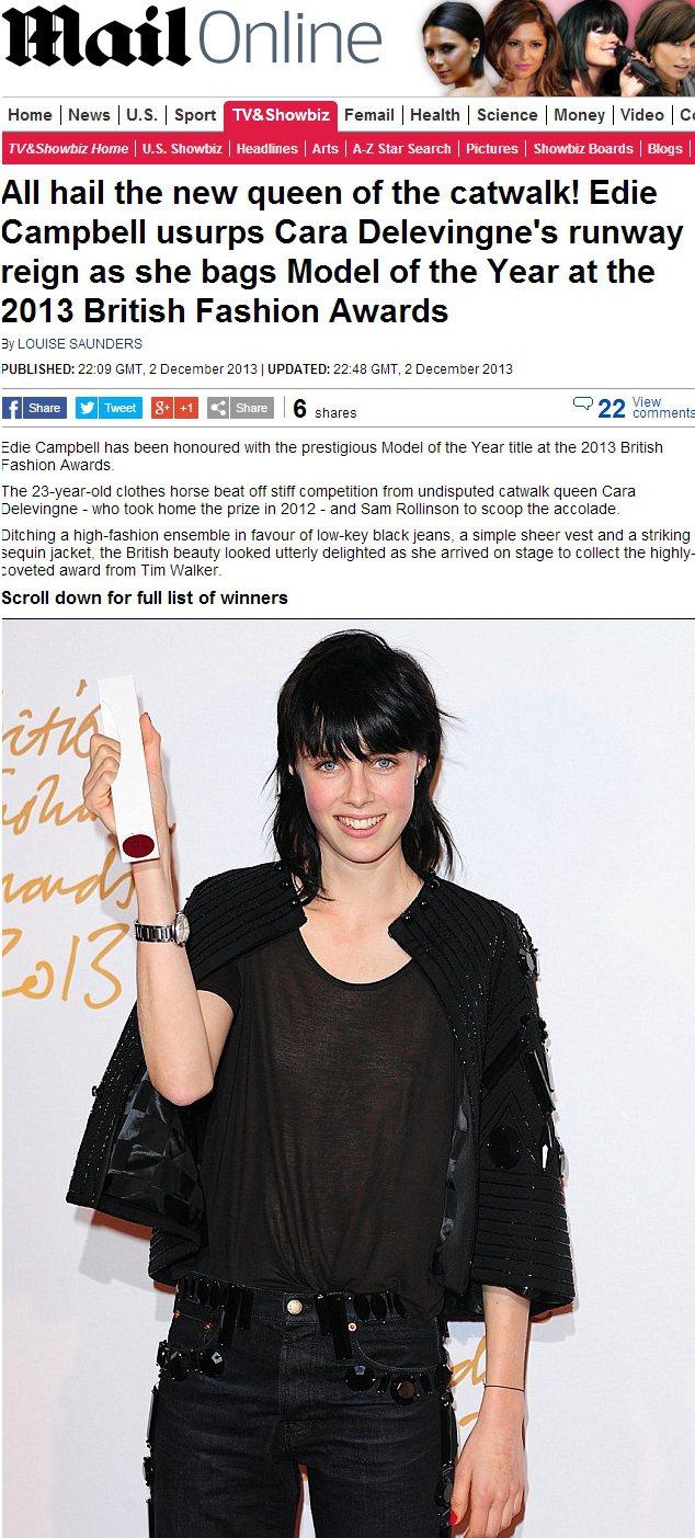 年度模特兒獎由 Edie Campbell 抱走,她曾多次為 LV、Burber...