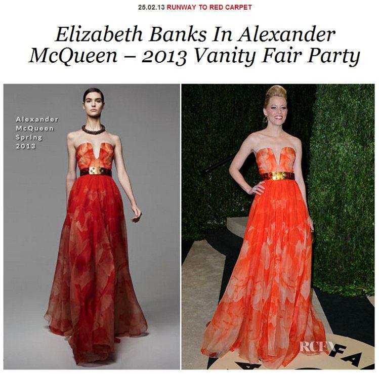 Alexander McQueen 亮橘色禮服使伊莉莎白洋溢著奢華輕盈的氛圍,舉...