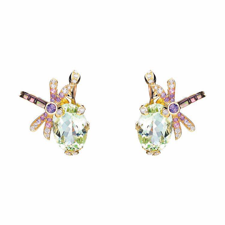 珍妮佛勞倫斯配戴的Dior Gourmande Pastel耳環,47萬元。圖/...