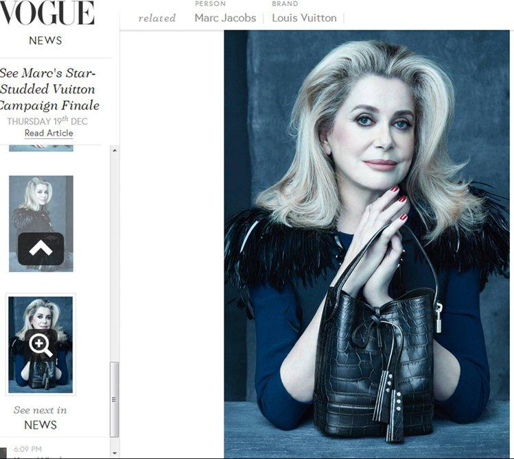「法國最美的女人」之稱的女星凱薩琳丹妮芙,比起年輕時的冷豔多了股溫暖的氣息。圖/...