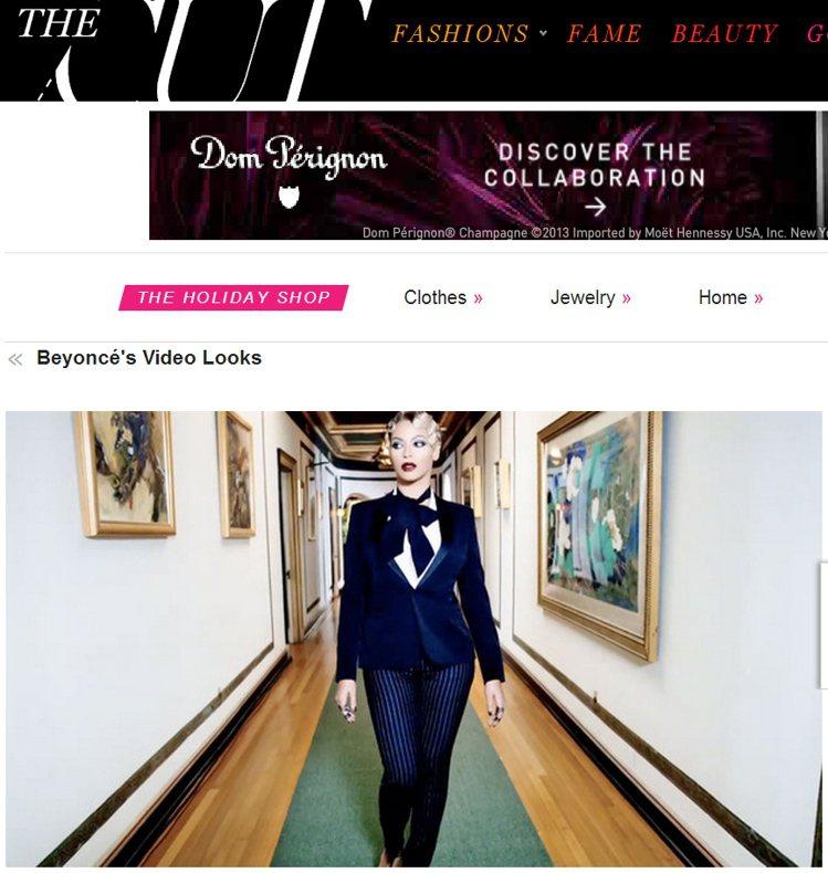 碧昂絲梳起復古頭,穿上設計師品牌中性西裝,展現古典又高貴的女強人氣勢。圖/擷取自...