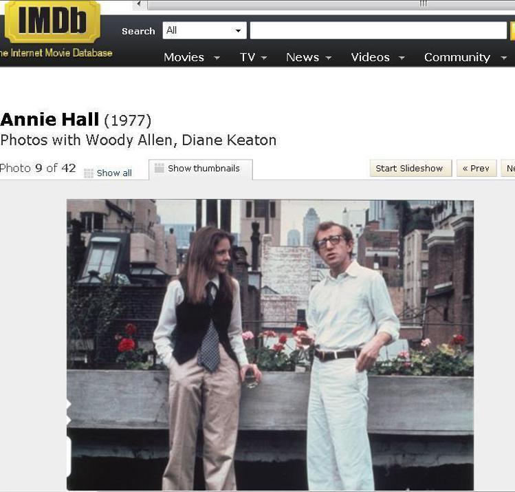 伍迪艾倫的《安妮霍爾》一直是時尚指標電影,獲得了 V 雜誌創辦人 Cecilia...