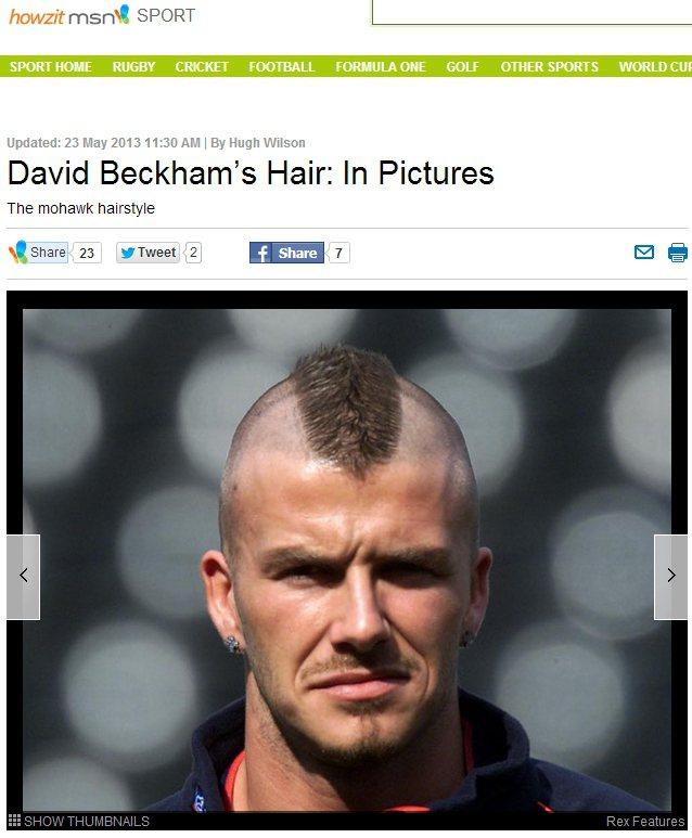 貝克漢的「Mohawk」曾被受爭議。圖/擷取自sports.howzit.msn...