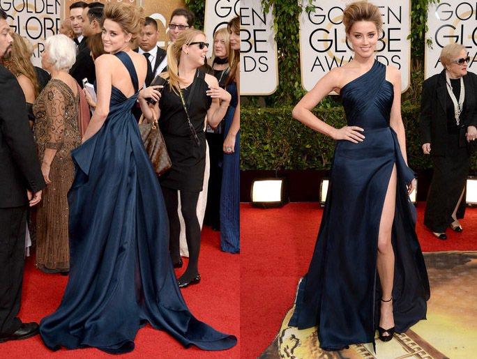安柏赫德的這身深藍色 VERSACE 禮服是否讓你想起裘莉在第84屆奧斯卡典禮上...