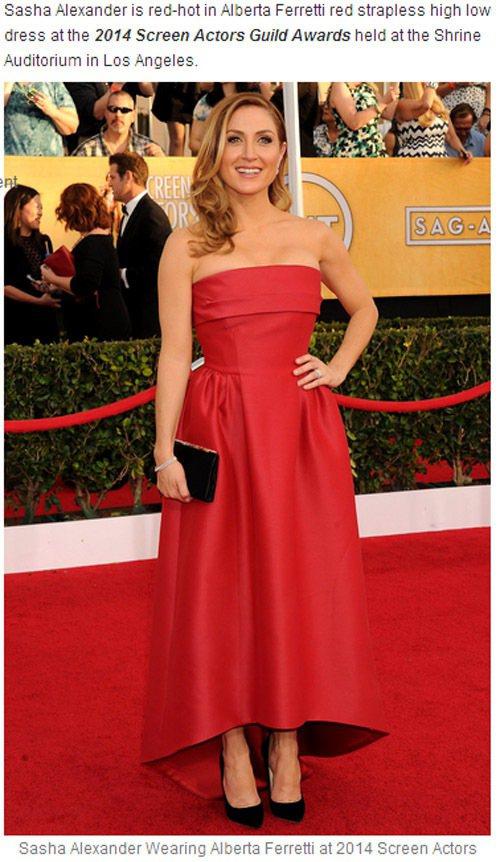 Sasha Alexander 穿著 Alberta Ferretti 的紅色禮...