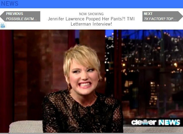 珍妮佛勞倫斯接受David Letterman訪問,聳肩又咬牙的表情超生動。圖/...