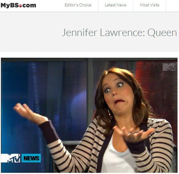 珍妮佛勞倫斯接受MTV專訪,逗趣表情還搭配動作。圖/擷取自MyBS.com