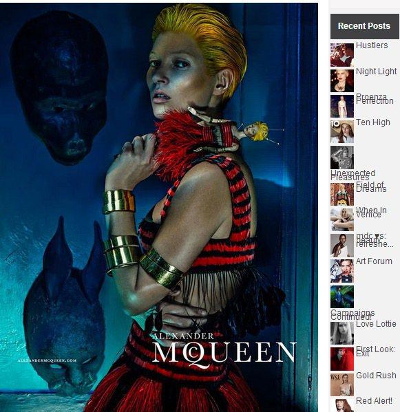 凱特摩絲日前成為Alexander McQueen 2014 春夏系列最新代言人...