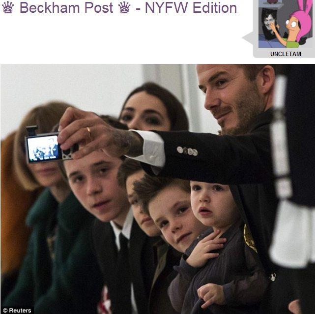 貝克漢和一家人在貝嫂服裝秀上一起自拍,氣氛看起來十分溫馨。圖/擷取自ohnoth...