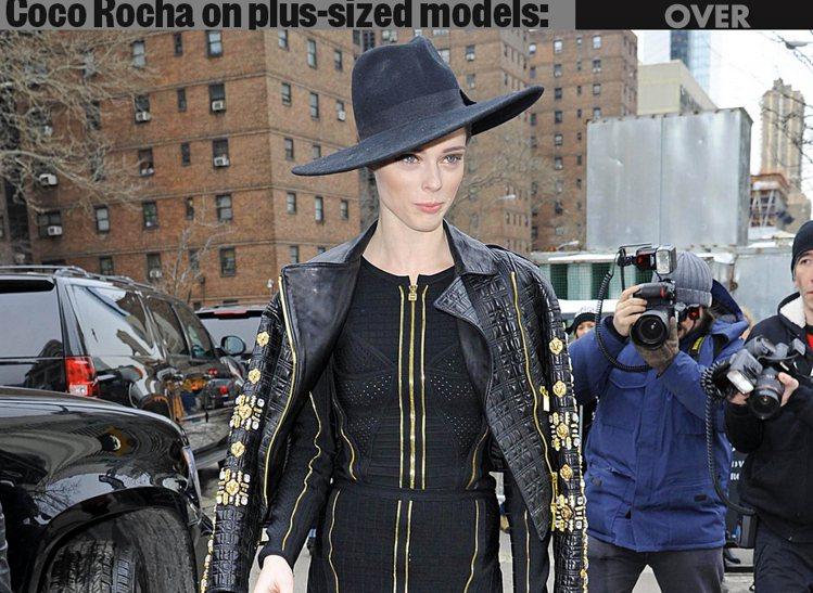 加拿大超模Coco Rocha現身紐約時裝周。圖/擷取自pagesix.com