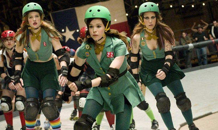 茱兒芭莉摩(左)自導自演的《飆速青春》,艾倫佩姬(中)穿上輪鞋成為慓悍的女健將。...