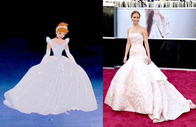 珍妮佛勞倫斯出席2013年奧斯卡的那一身 Dior 大蓬裙,讓人想起灰姑娘變身後...