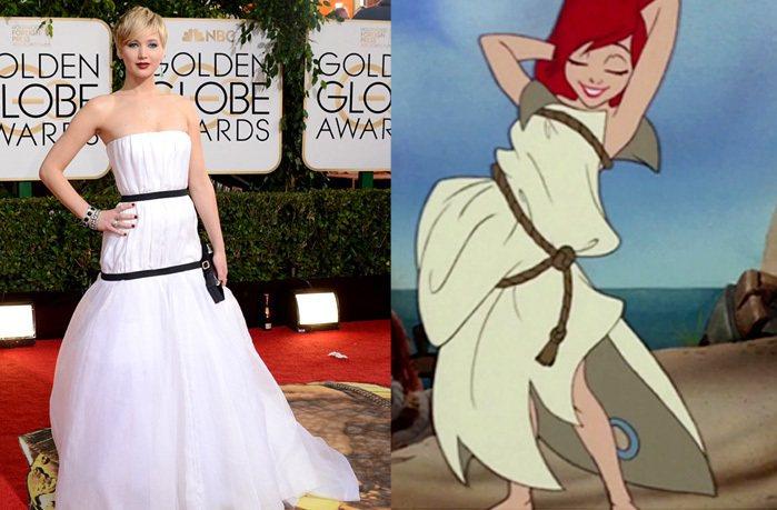 2014年初珍妮佛勞倫斯在金球獎中穿的 Dior 禮服與小美人魚的棉被衣也很相似...