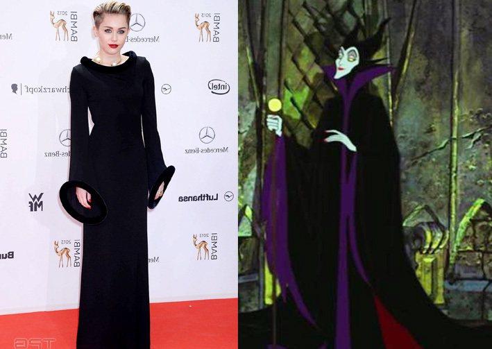 麥莉的 Gaultier 古董禮服寬袖和高領戲劇性十足,與《睡美人》中的 Mal...