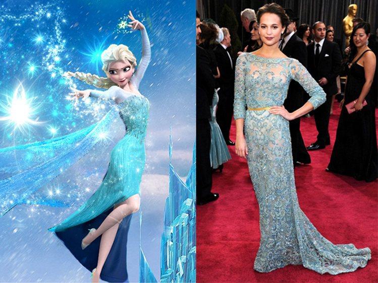艾莉西亞維坎德在2013奧斯卡頒獎典禮上穿了 Elie Saab 藍綠色禮服,品...