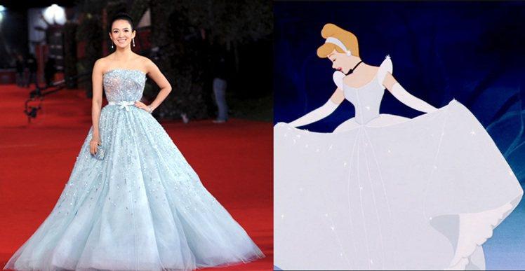 章子怡2011年在羅馬電影節的 Dior 禮服也「很仙度瑞拉」。大蓬裙和閃亮的寶...
