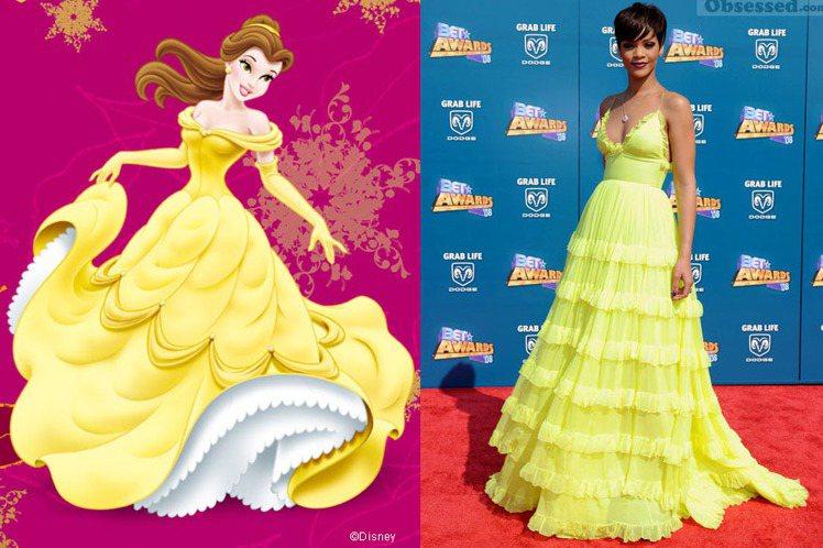 蕾哈娜黃色禮服層層堆疊的裙擺與美女與野獸的貝兒造型很像。圖/美聯社、擷取自迪士尼...