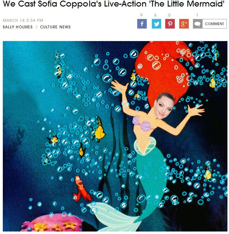 美女導演蘇菲亞柯波拉(Sofia Coppola)要拍《小美人魚 The Lit...
