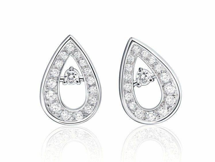 萬寶龍摩納哥葛莉絲王妃系列高級珠寶玫瑰花瓣單瓣鑽石耳環,10萬3,000元。圖/...