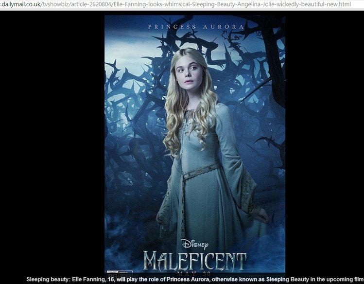 艾兒芬妮在電影《黑魔女:沉睡魔咒 Maleficent》中扮演「睡美人」歐若拉公...