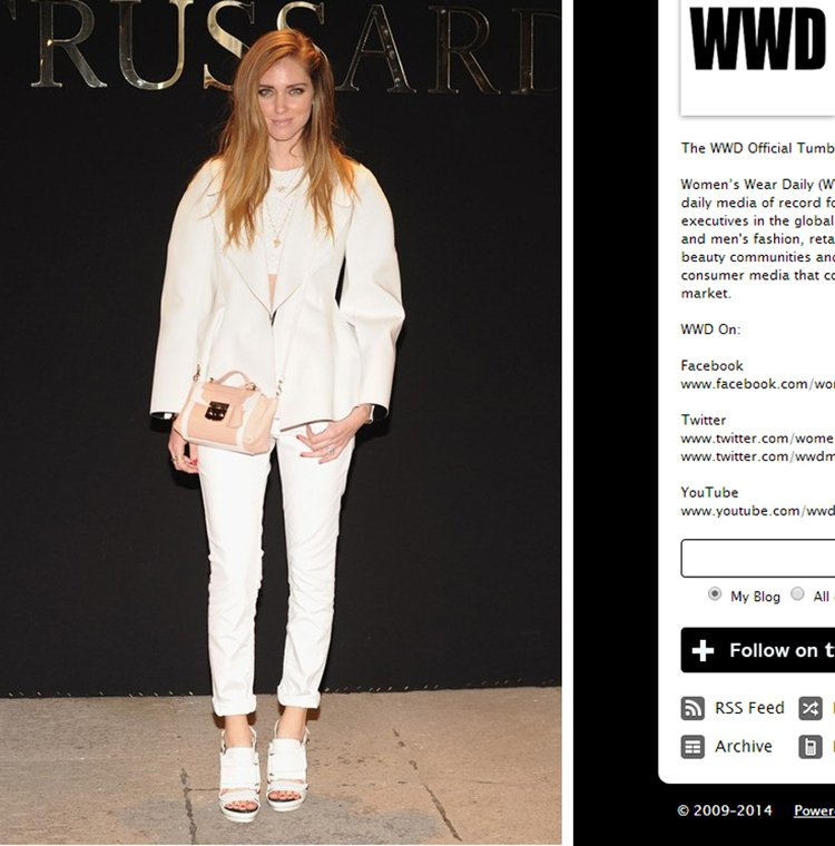 紙雕般的空氣感西裝外套讓 Chiara Ferragni 這身白色裝扮活了起來,...