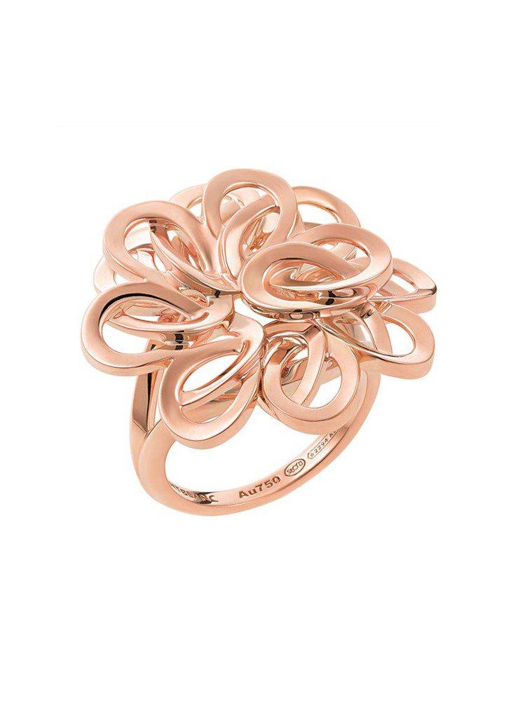 萬寶龍摩納哥葛麗絲王妃系列高級珠寶編織花瓣玫瑰金戒指,15萬4,100元。圖/萬...