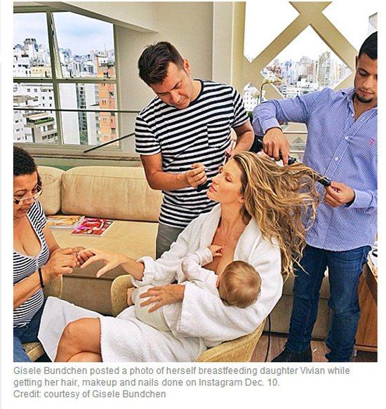 超模吉賽兒邦臣曾分享工作時的餵母奶照。圖/擷取自usmagazine.com