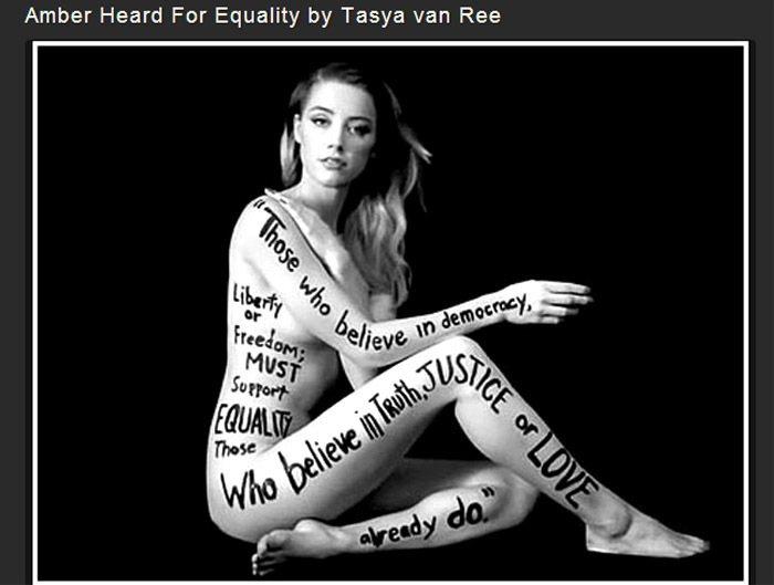 女星安柏赫德也曾為了支持男女平權理念而全裸入鏡 Tasya van Ree 的黑...