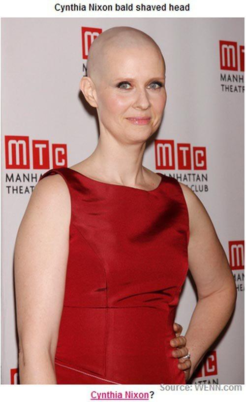 慾望城市的「米蘭達」辛西亞尼克遜也為了在舞台劇中詮釋癌症病人而落髮。圖/擷取自p...