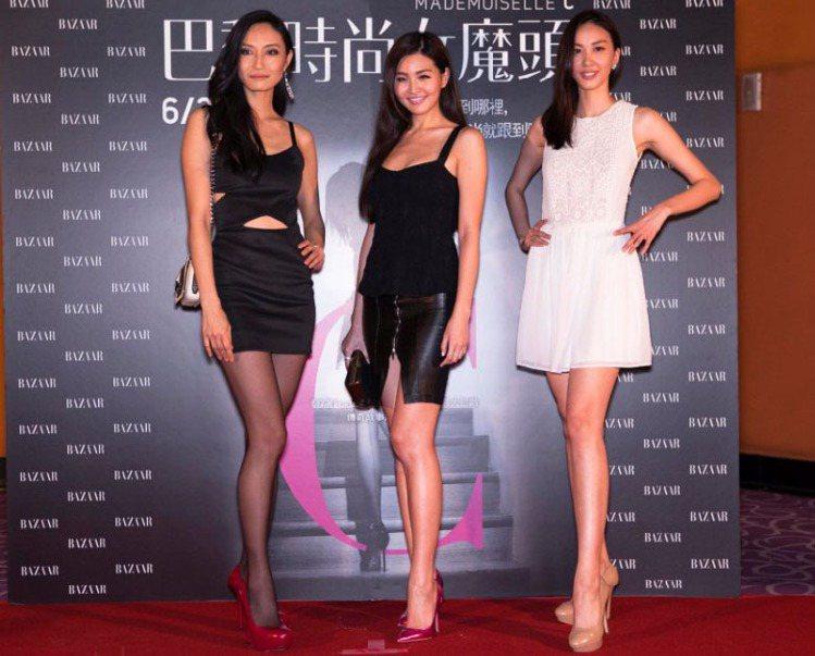 凱渥名模邱馨慧(左起)、林葦如、張敏紅力挺《巴黎時尚女魔頭》。圖/前景娛樂提供