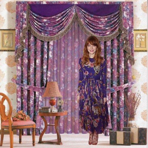 網友將艾瑪史東的照片和印花窗簾合成。只能說時尚這回事真的就是見仁見智啊!圖/擷取...
