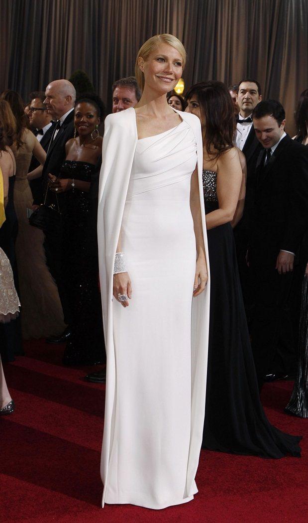葛妮絲派特羅偏愛白色系禮服,圖為Tom Ford禮服。圖/路透