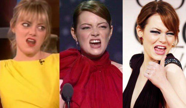 艾瑪史東也是好萊塢出了名的「人來瘋」女星,她的鬼臉照非常多。圖/達志影像、擷取自...