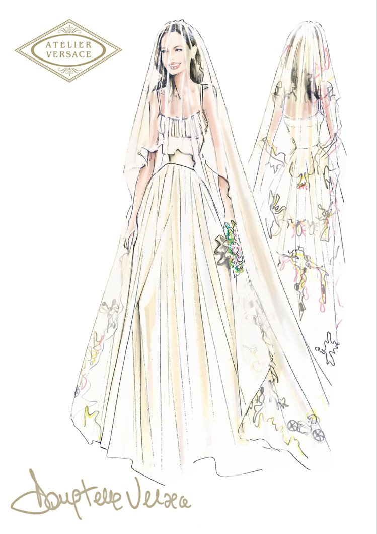 裘莉的婚紗,由她的愛牌 VERSACE 設計總監 Donatella Versa...