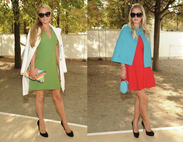 近日在 VALENTINO 2015春夏時裝秀場外,希爾頓姊妹攜手將外套披在洋裝...
